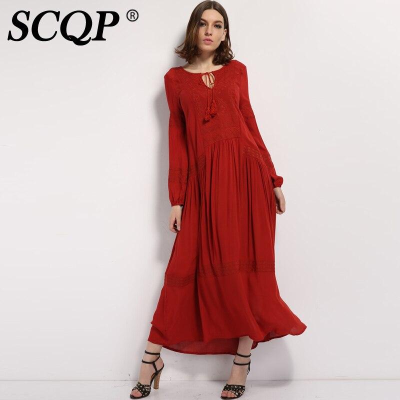 Scqp borla bordado geométrico bohemio dress ladies étnico autorretrato dress sól