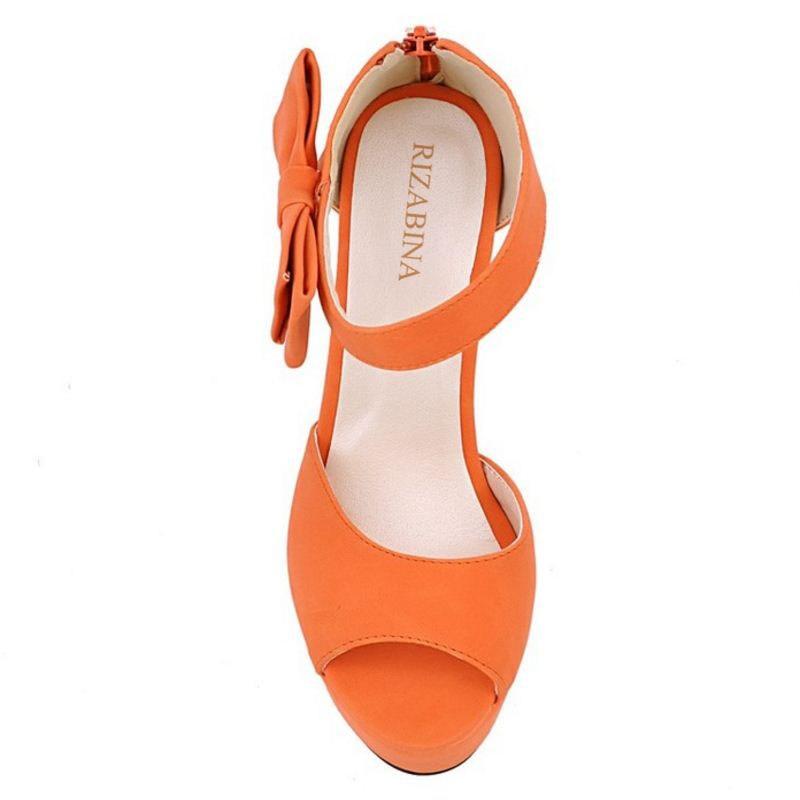 Beige 31 rose Chaussures Talons Plate Cheville D'été À forme orange Nouvelle noir Sandales 43 Hauts Lady Épais Toe Peep Rizabina Orange Doux Femmes Sangle Taille 5Raq1AOOS