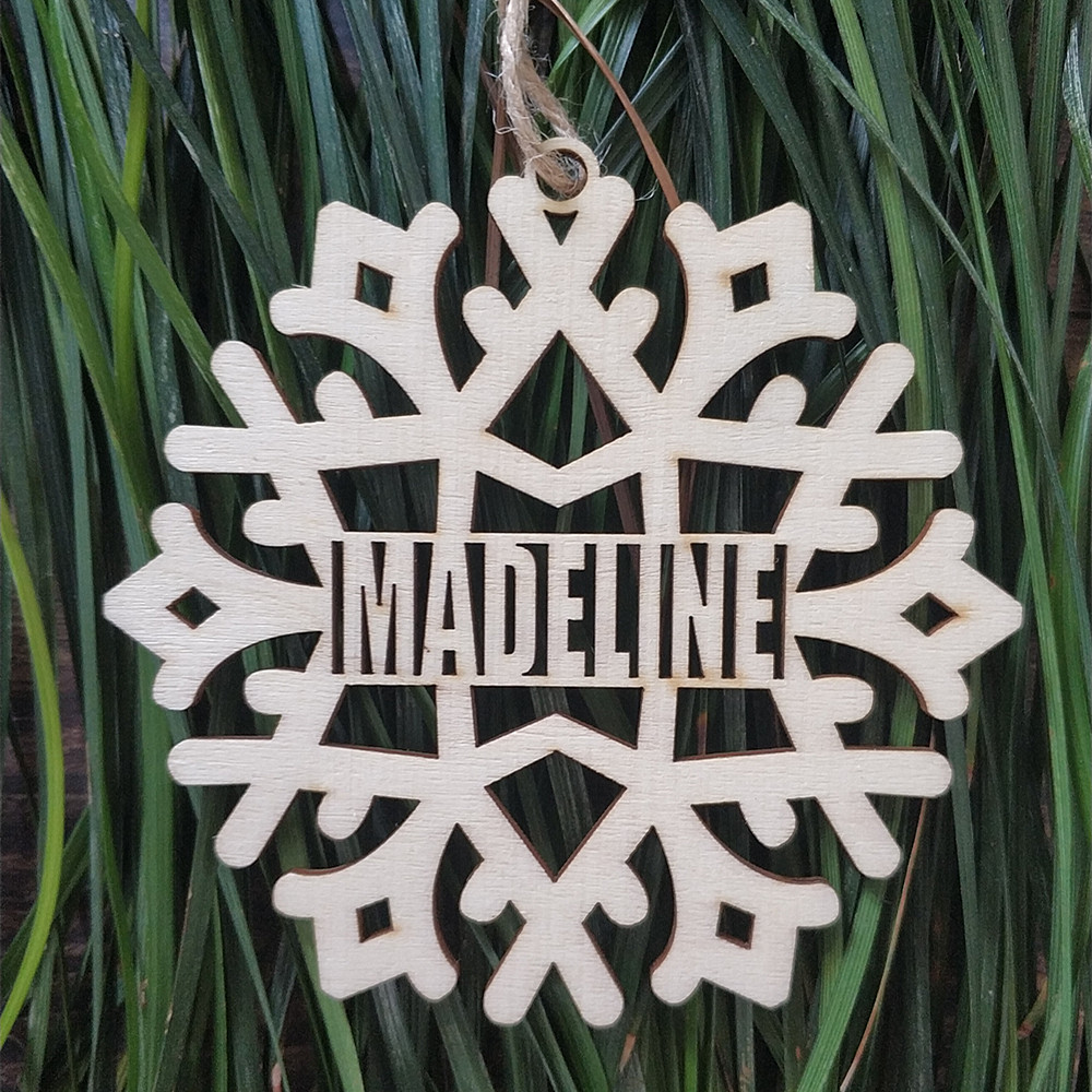 10pcs personalized custom different names wood snowflake christmas