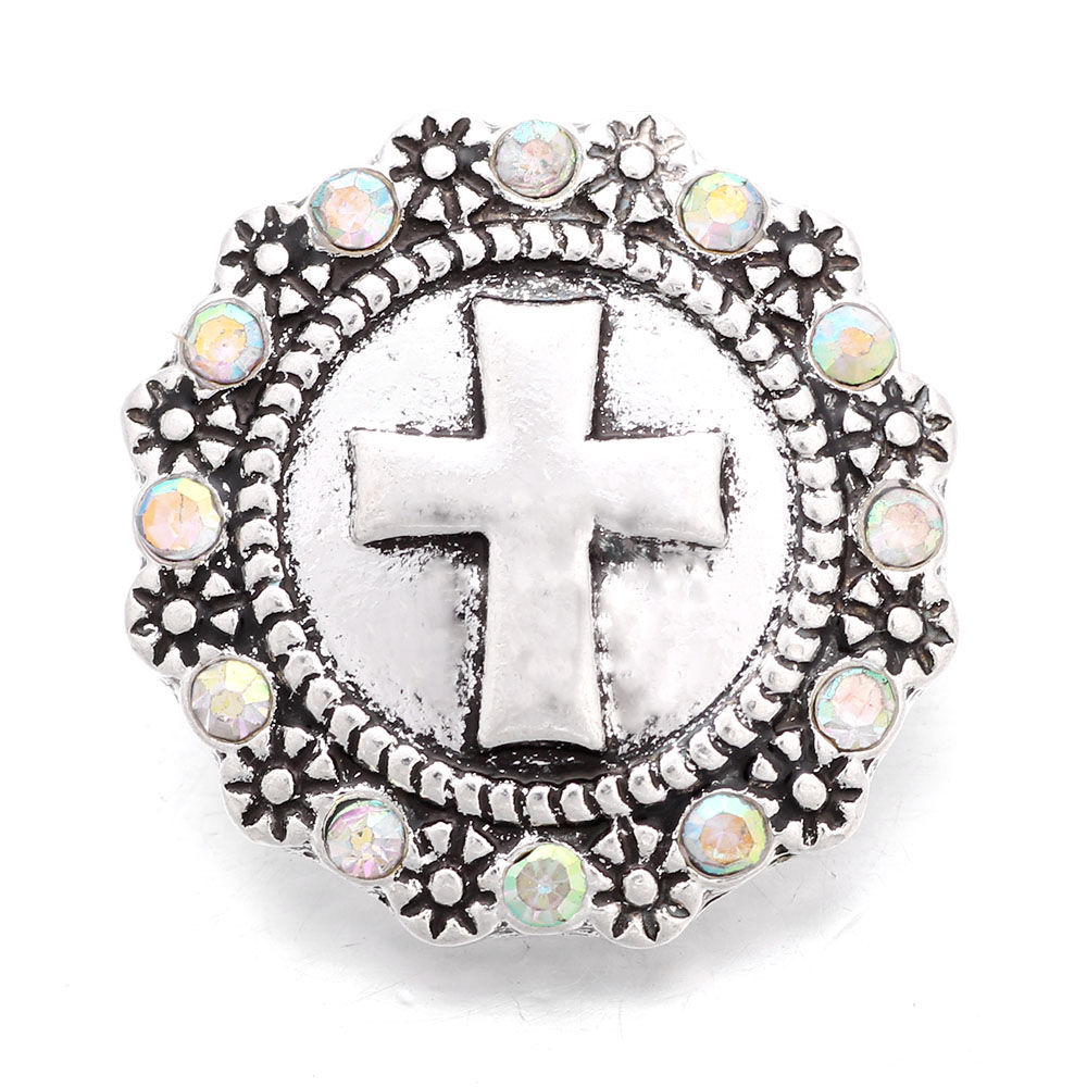 10pcs/lot Xinnver Snap Jewelry Cross Rhinestone Snap Buttons Fit 18MM Snap Bracelet For Women DIY Charms Jewelry ZA651