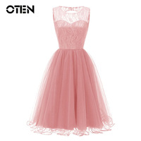 OTEN 2018 Summer Women Sleeveless O Neck Lace Mesh Patchwork Sexy Backless Pink Evening Party Night Elegant dress for ladies