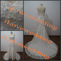 100% Actual Image Wedding Dress Vestido De Noiva 2015 Lace Mermaid Wedding Dresses Beaded Bridal Gowns Robe De Mariage