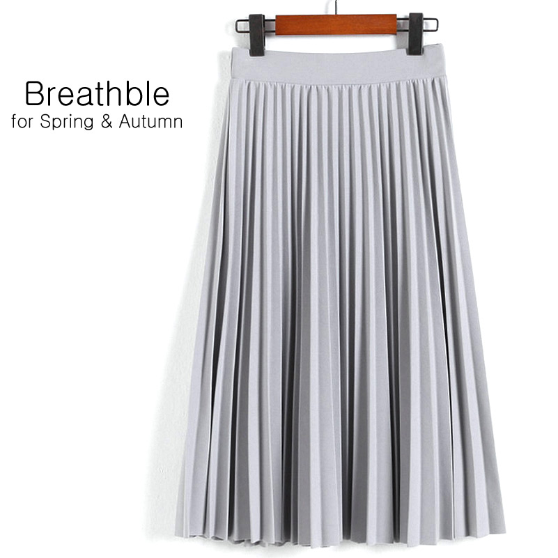 Aonibeier Fashion Women's High Waist Pleated Solid Color Length Elastic Skirt Promotions Lady Black Pink Party Casual Skirts 13