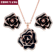 Top Quality ZYS317 Blooming Roses Rose Gold Color Jewelry Necklace Earring Sets Rhinestone Made with Austrian