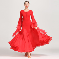 Slim Ballroom Dress Women Chiffon Salsa Rumba Waltz Dancing Wear Tango Standard Dance Performance Clothes Practice Outfit DC1185