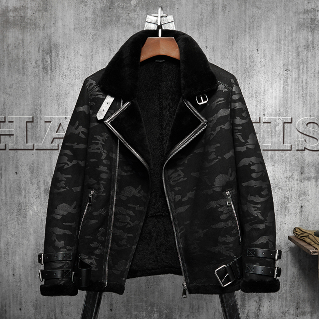 cb671a80d31 Black Camouflage B3 Jacket Men s Shearling Leather Jacket Original Flying  Jacket Men s Fur Coat Aviation Leathercraft Pilots