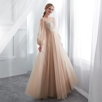 Champagne Prom Dresses Long Puff Sleeves Venice Lace Full Length Evening Dresses Party Gown Formal Dresses vestidos de gala 2