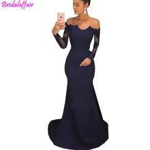Navy Blue Off The Shoulder Mermaid Prom Dresses For Women Long Sleeves Evening 2019 Dress abiye gece elbisesi