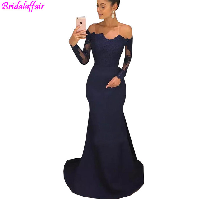 d7366c65943 Off The Shoulder Navy Blue Mermaid Prom Dresses Long Sleeves Lace Satin Evening  Dresses Formal Evening Dress Elegant Prom Dress