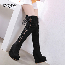 BYQDY Autumn High Boots Sexy Lace Up Over Knee Women Wedges Heel Shoes Woman Platform Rubber Suede Botas Mujer Size 35-40