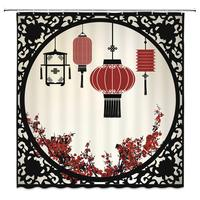 Shower Curtain Set Black China Window Red Oriental Lantern Plum Blossom Red Flower Polyester Fabric Bath Curtain Floor Mat