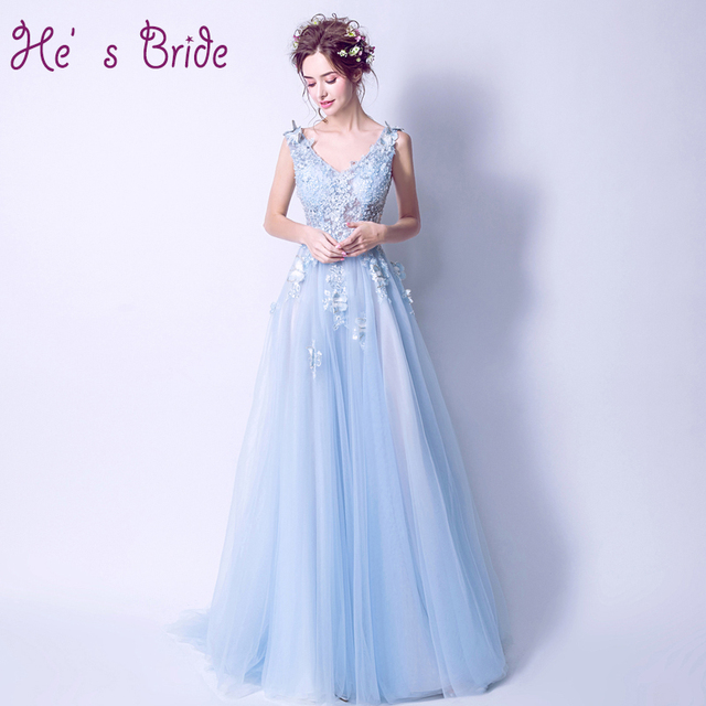 2017 New Arrival Light Blue V Neck Lace Up Back Evening Dress Robe De  Soiree Modern Sexy Elegant Prom Dress Vesta De Festa 3f41ba49ca6f