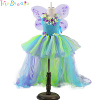 Fairy Girl Flower Tutu Dress with Wings Woodland Baby Kids Wedding Birthday Party Dresses With Train Fairy Festival Costume