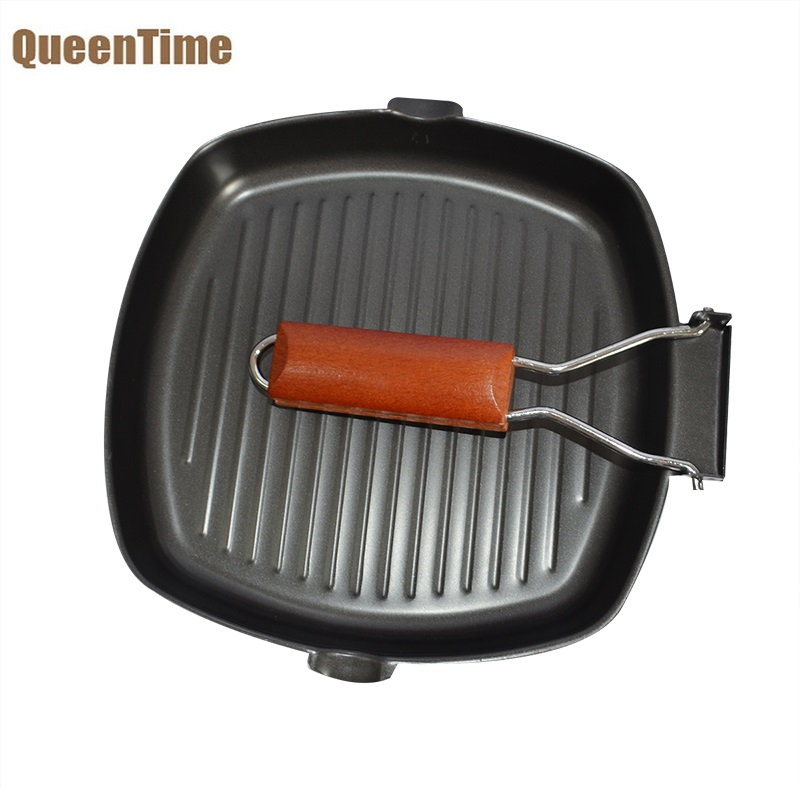 QueenTime Non-stick Fried Steak Fry Pan Iron Griddles Gill Pans Collapsible Handle Frying Pan Cooking Tools Gas&Induction Cooker
