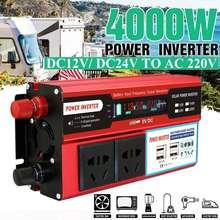 KROAK 4000W 4 USB инвертирующий усилитель мощности с 12В постоянного тока/24 V к переменному току 220 V автомобильный адаптер зарядки преобразователь ЖК-дисплея с модифицированной синусоидой, трансформатор