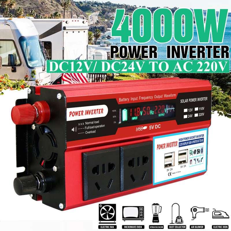 KROAK 4000W 4 USB Power Inverter DC 12/24V to AC 220 V Car Adapter Charge Converter LCD Display Modified Sine Wave Transformer