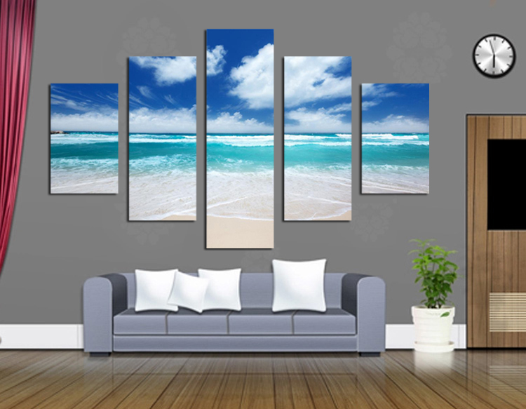 blue sky and beautiful scenery by printed giclee canvas modern no framed landscape pictures wall art for office space