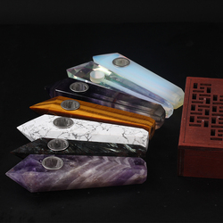 Wholesale Natural Quartz Smoking Pipe Crystal Stone Obelisk Wand Point Cigars Pipes Smoking Pipes Healing With Metal Filter 1PC