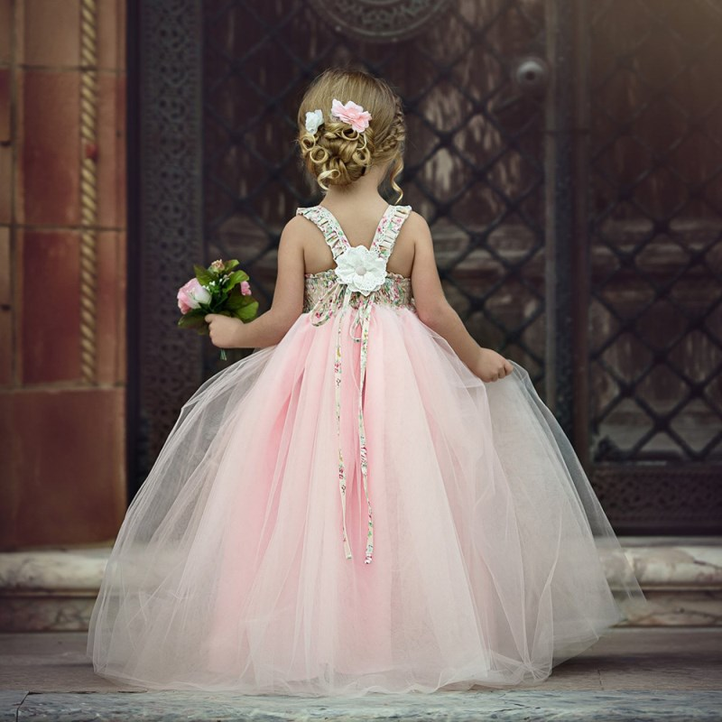 Girls dress 2019 a girl's new year costume Pink Lace Christmas costume Strappy Dress Maxi Long Princess Children Formal Gown