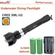 Buceo led linterna 18650 de La Antorcha Subacuática DEL CREE T6 U2 L2 2000LM Flash LED de luz de Lámpara Impermeable + 2 unids 18650 8800 mah + cargador