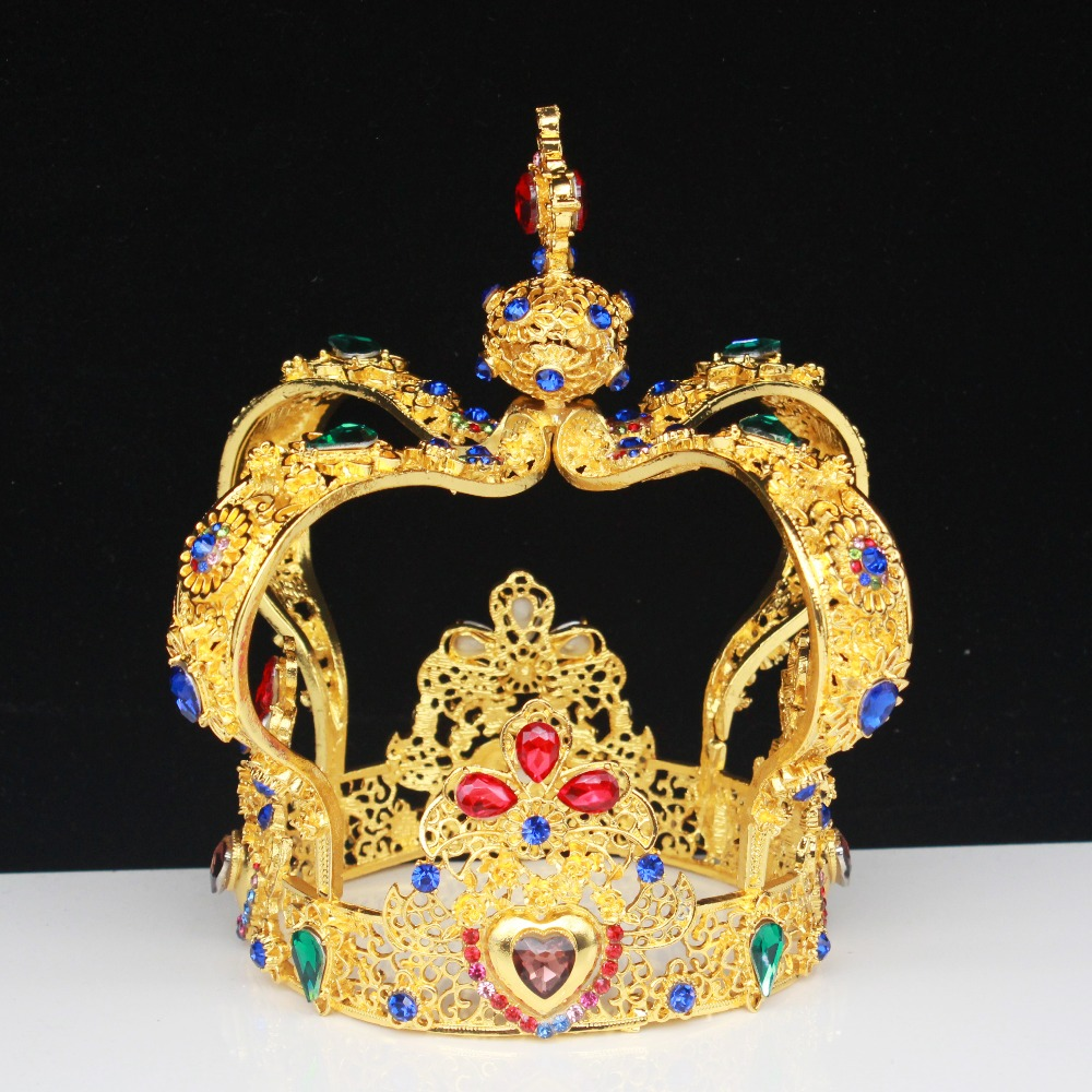 Small Cross Crown Gold Mini Tiara Rhinestone Crystal Pageant Prom Party Costumes
