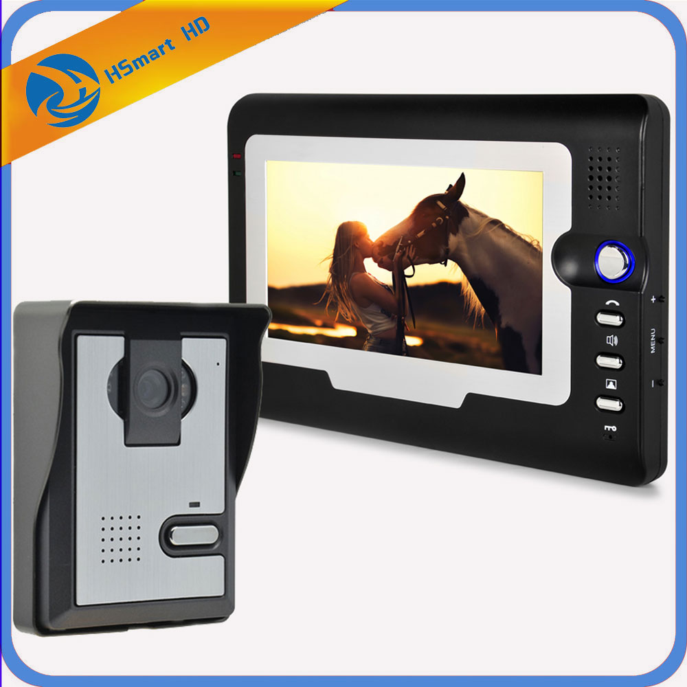 New Hot Home Security 7 inch TFT LCD Monitor Video Door phone Intercom System With Night Vision Outdoor Camera IN Stock homefong 7 inch night vision video door phone intercom doorbell doorphone system with tft lcd color monitor outdoor camera