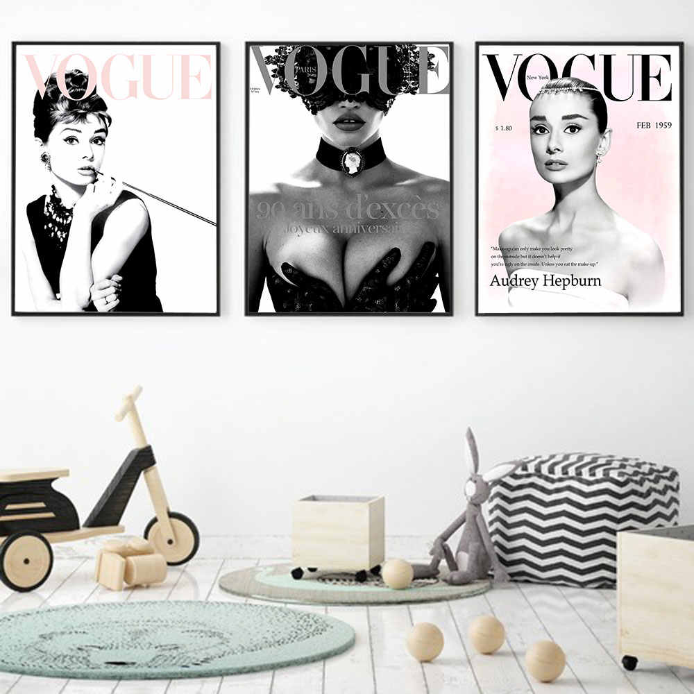 Vogue Woman Figure Wall Art Painitng for Living Room Bedroom Home Decor Poster and Prints Metal Organic Glass Frame