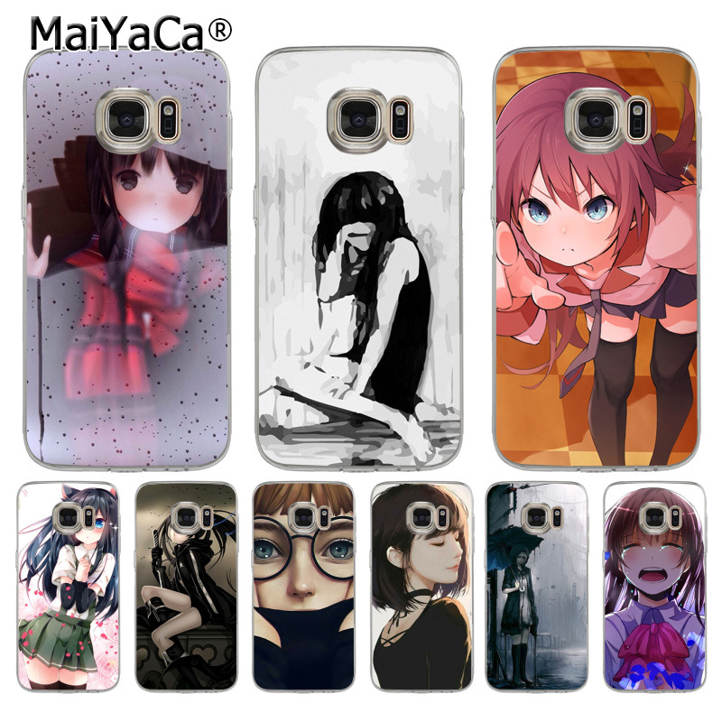 US $1 29 50% OFF|MaiYaCa Sad Cute Anime Girl Adorable Colored Drawing Phone  Case for samsung galaxy s9 plus s7 edge s6 edge plus s5 s8 plus case-in