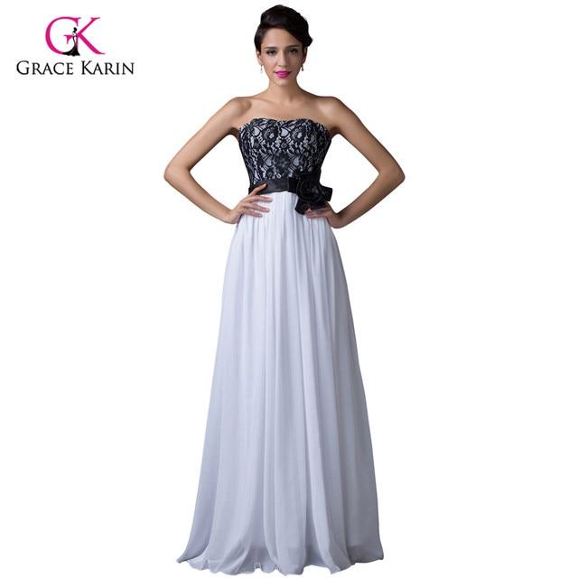 Online Shop Long Lace Evening Dresses 2018 Grace Karin White Black ...