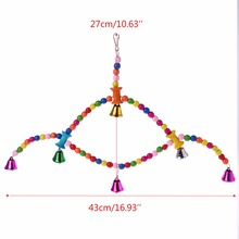 Colorful Wood Bird Swing Cage Toy Parrot Bird Finch Cage Perch Hanging Chew Toys