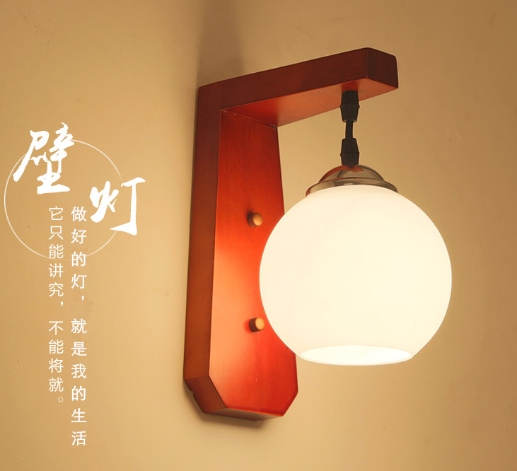 Chineses Rustieke Stijl Rode Houten Frame Muur Lampen Korte Witte Glazen E27 Led Lamp Voor Slaapkamer & Porch & Trappen & Pavilion & Studio Xdbd009