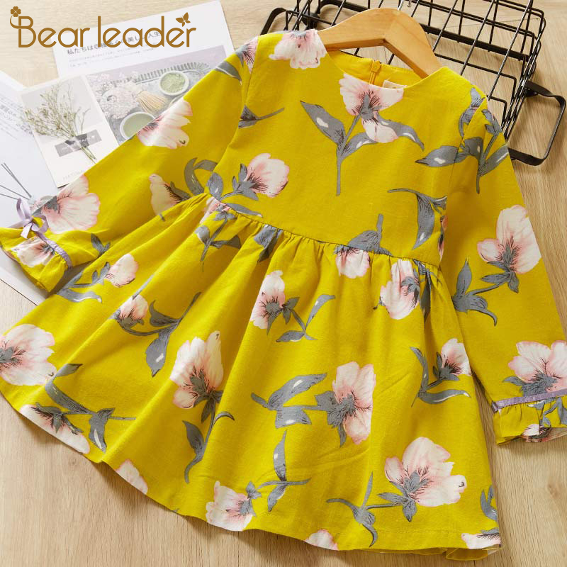 Bear Leader Girls Dress 2017 Brand Printing Princess Dress Autumn Style Long Sleeve Flowers Printing Design for Children Clothes silk