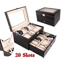 Hot Sale 20 Grid Wooden Luxury Watch Box Jewelry Storage Box Organizer Dual Layers For Rings Bracelet Display Holder Case