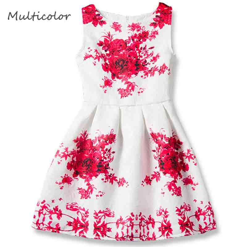 New Arrived Girl Birthday Dress 6-15Y Print Designs Princess Dresses For Girls Kids Party Solid Color Sleeveless Formal Clothes цена 2017