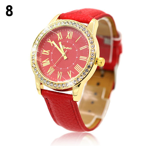 купить New hotWomens Golden Rhinestone Geneva Roman Numerals Dial Analog Quartz Wrist Watch 4JVH по цене 91.57 рублей