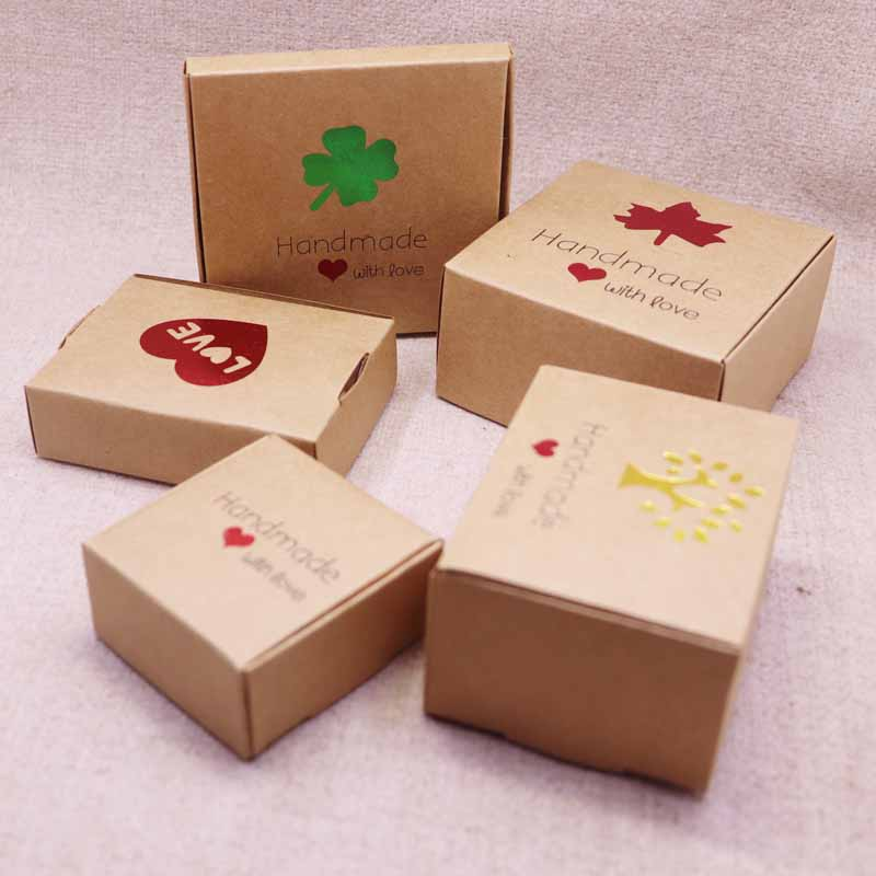 50pcs cute style New DIY multi styles gift/candy/packing box handmade with love cardboard gift package & Wedding BOX Red Heart