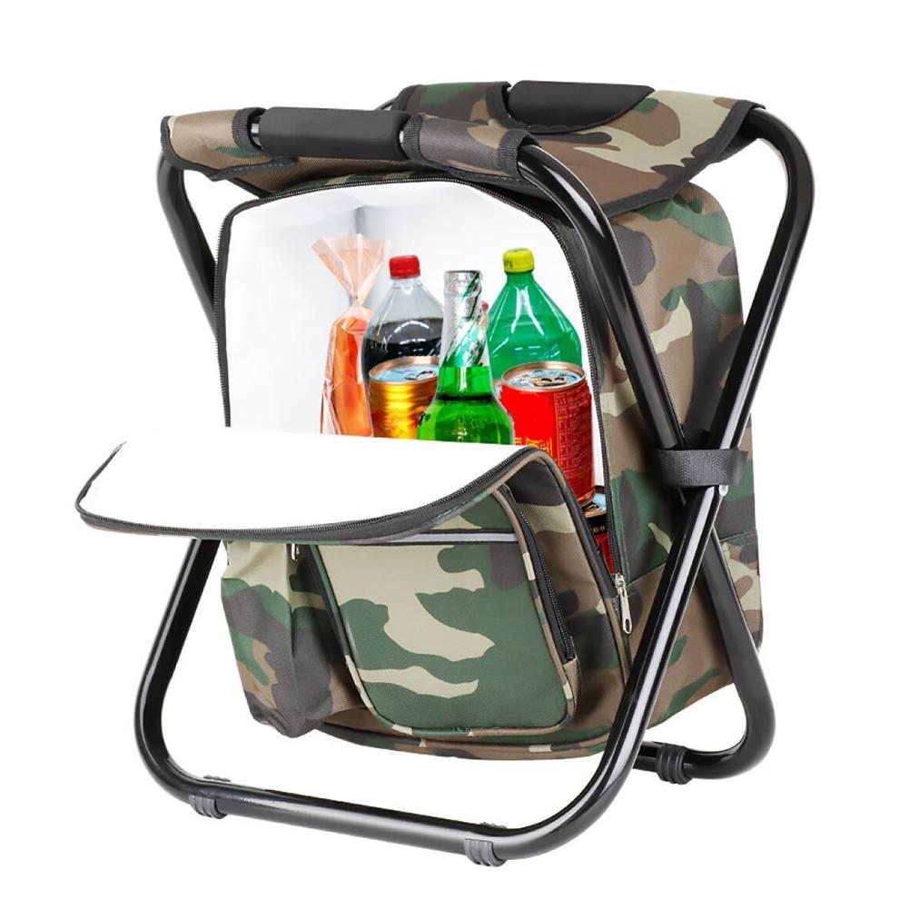 Folding Fishing Chair Stool Backpack With Cooler Picnic Bag Camping Hiking Camouflage Outdoor Travel Seat Convenience Goods
