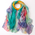 new arrival multi colors sun protection summer digital print super large size shawl super long thin silk scarf beach pashmina