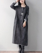 In the spring of 2016, product design brand quality knitting cotton  loose big yards more women's long dress