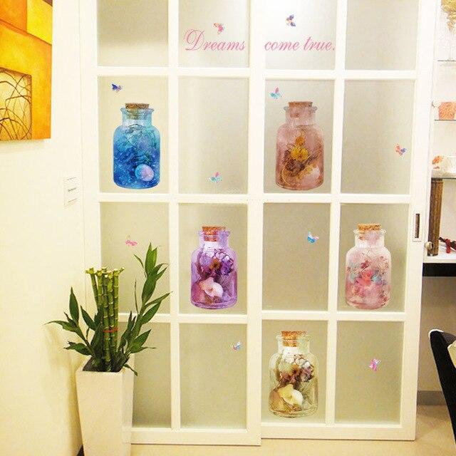 3D Traum Glas Vase Wishing Flasche Wandaufkleber Steuern Dekor ...
