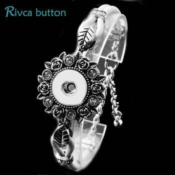 P00829  Newest Snap Button Bracelet&Bangles Newest Design Fashion Leather Charm Bracelets Fit 18mm Rivca Snap Button Jewelry snap button jewelry
