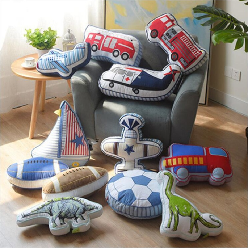Lovely Cartoon Animals Dinosaur Sailboat Shape Cushion Pillow Kids Bed Room Decor Calm Sleep Dolls Nordic Boys Love Photo Props ...
