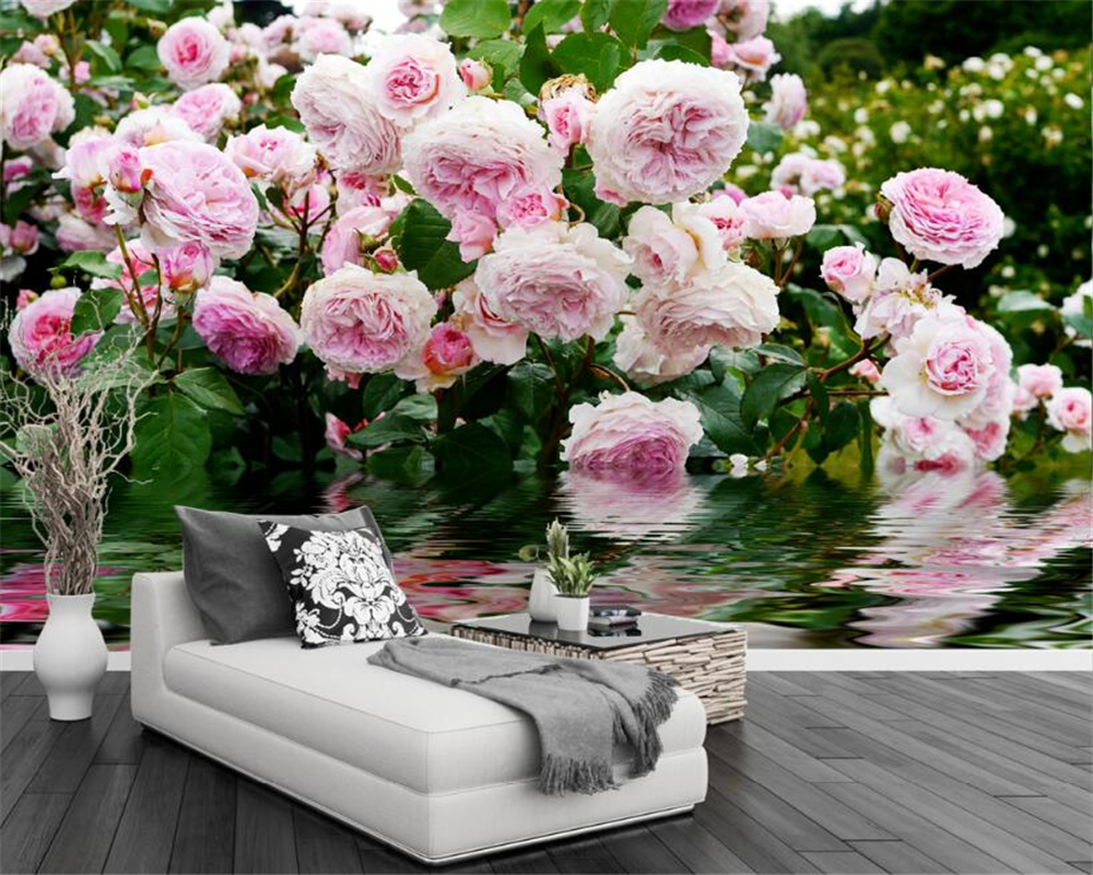 Beibehang Custom wallpaper pink roses reflection water pastoral background wall living room bedroom TV background 3d wallpaper