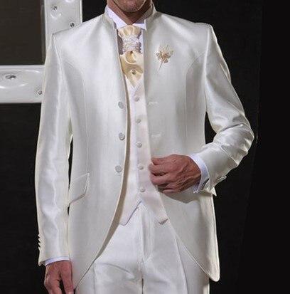 2020 Wit Satijn Stand Kraag Mannen Mannen Pakken Mannen Klassieke Pakken Trouwpak Voor Bruidsjonkers Italië Retro Party Party Tuxedos-in Pakken van Mannenkleding op AliExpress - 11.11_Dubbel 11Vrijgezellendag 1