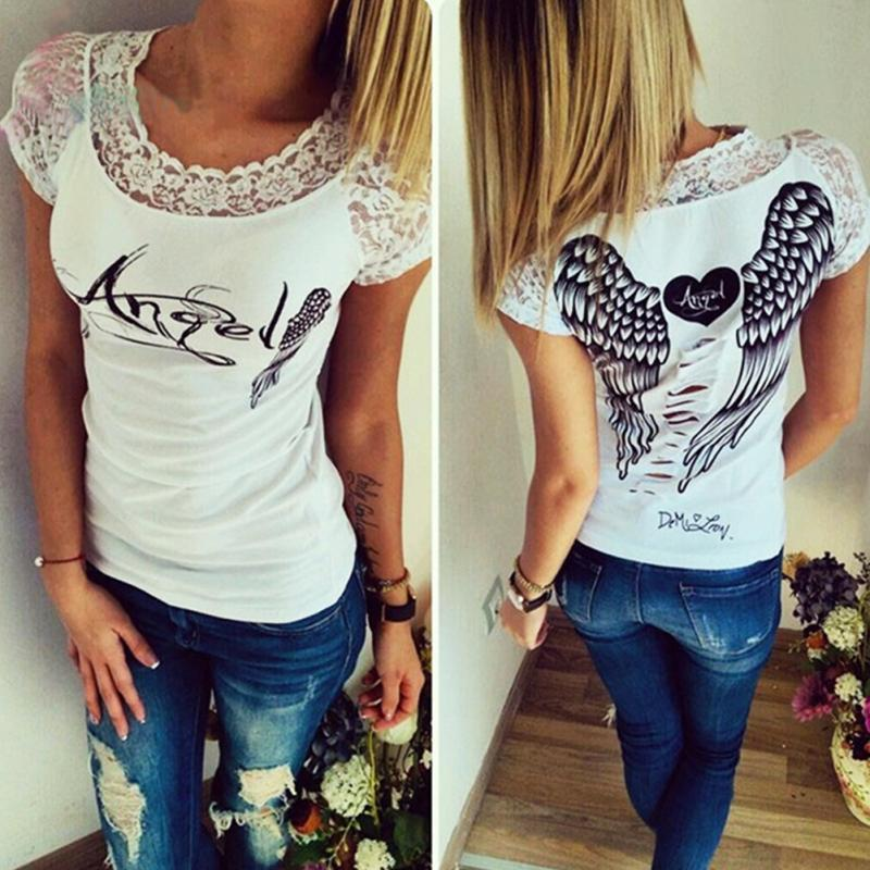 2016 Slim Style Women Short Sleeve O-neck Shirt Hollow Back Angel Wings Lace T-shirt Блузка