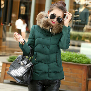 Raccoon Fur Collar Hooded Parka Nice New Short Winter Jacket Women Cotton Padded Down Women's Winter Jacket Thick Outwear AW1142 boss cs 3