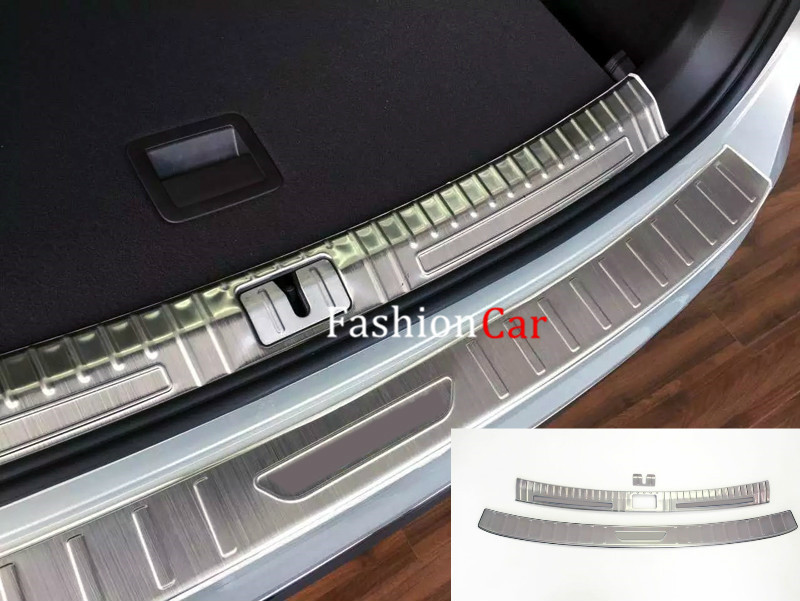 For Volkswagen Tiguan 2nd Gen 2016 2017 2pcs/set stainless Car Rear Trunk Sill Pedal Plate Trim Cover car rear trunk security shield cargo cover for volkswagen vw tiguan 2016 2017 2018 high qualit black beige auto accessories