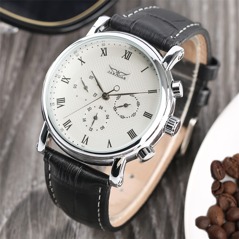 JARAGAR black genuine leather band mechanical watch men21