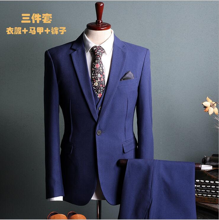 2017 New In stock Best man suit Groom Tuxedos Business black Blue Suit Wedding Suits Men Blazer Set 3 piece jacket vest trousers