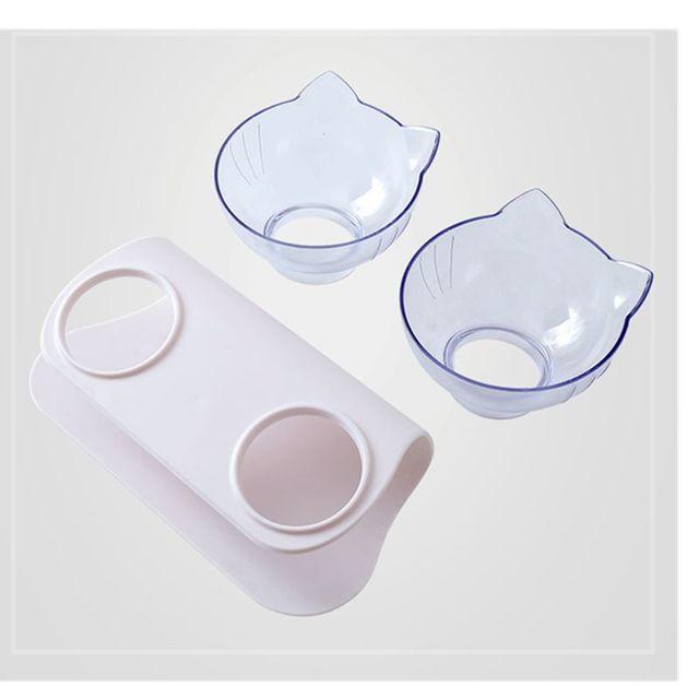 Explosive Cat Double Bowl Cat Bowl Dog Bowl Transparent AS Material Non-slip Food Bowl With Protection Cervical Transparent Cat 4